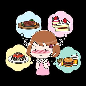 食べ物の誘惑と戦う女性の画像